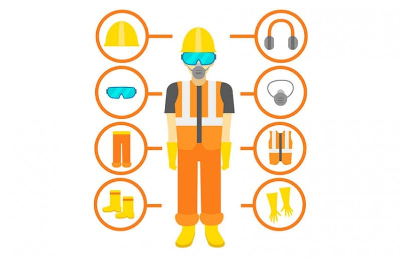 Personal protective equipment or PPE at work